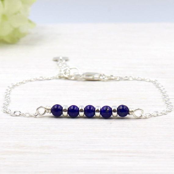 Bracelet gemstones lapis lazuli and 925 sterling silver rondelles