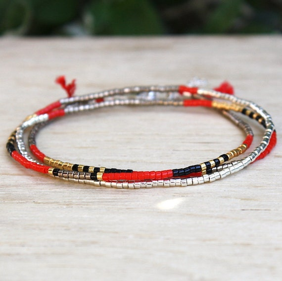 Red miyuki Beads Bracelet three laps on cord