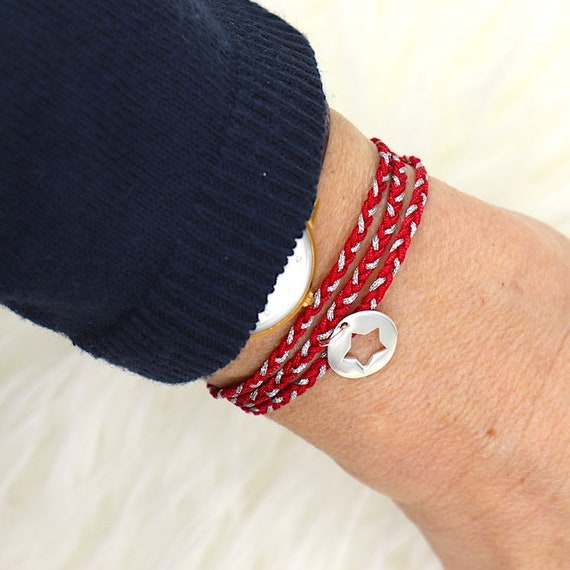 cord bracelet braided triple towers Silver Star Medal