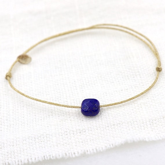 fine lurex cord bracelet square stone lapis lazuli for woman