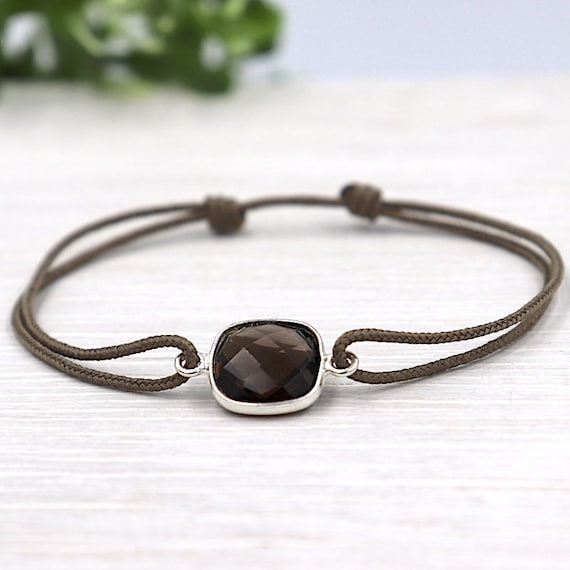 smoky quartz gemstone stone bracelet set