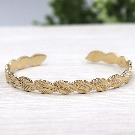 Bangle woman gold plated 750 thousandth shape leaf