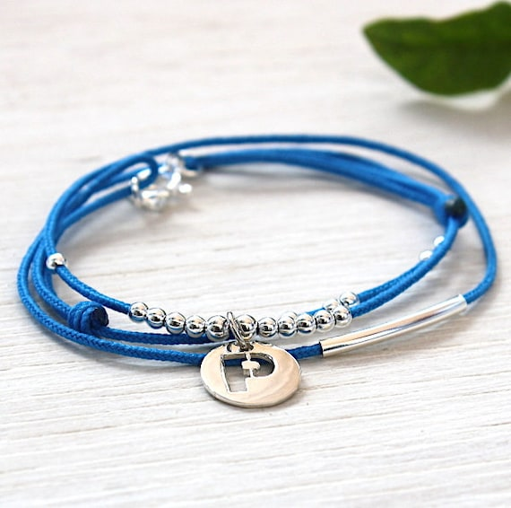 customizable bracelet Bangle and silver beads on cord 925 Medal