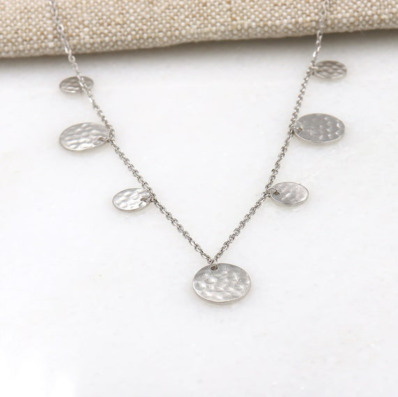 necklace woman pellets hammered in silver 925