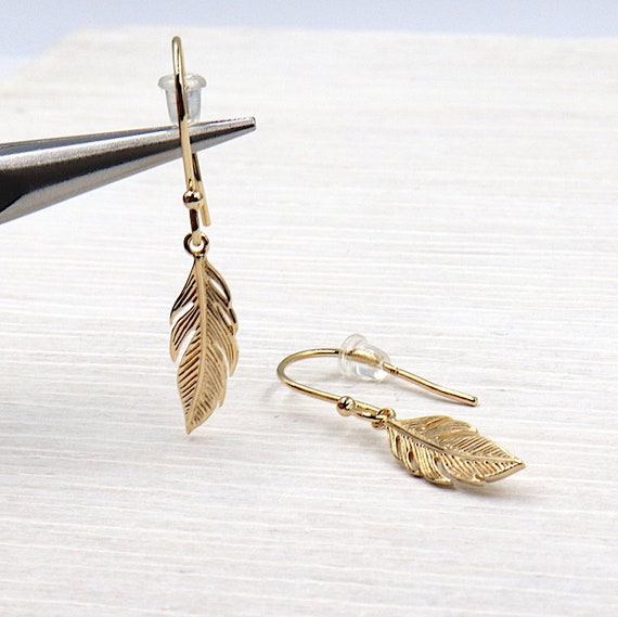 Gold plated earrings feather 3 Micron 18 ct