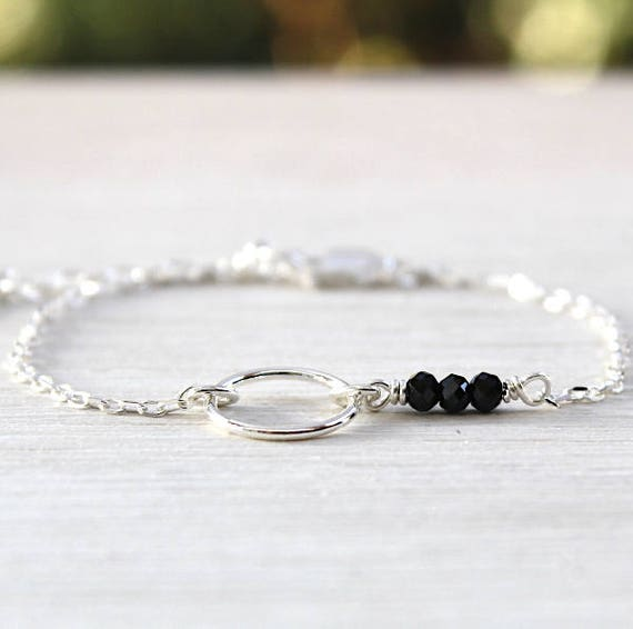 Black chain bracelet 925 Silver ring and spinel gemstones