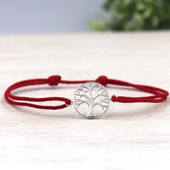 Tree of life cord bracelet for women 925 sterling silver