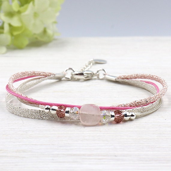 Pink bracelet cord multi strand swarovski pearls and quartz gemstones