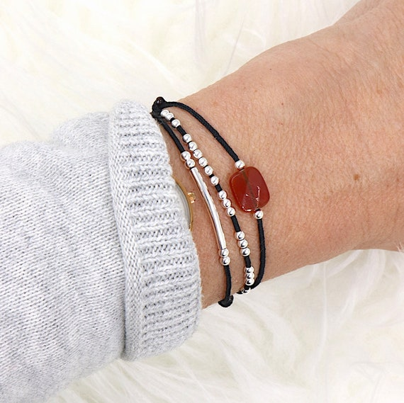cord bracelet three rows Bangle red agate and 925 Silver beads