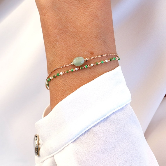 Gold-plated double chain women's bracelet, green quartzite gemstone bracelet, gold-plated chain bracelet and miyuki beads
