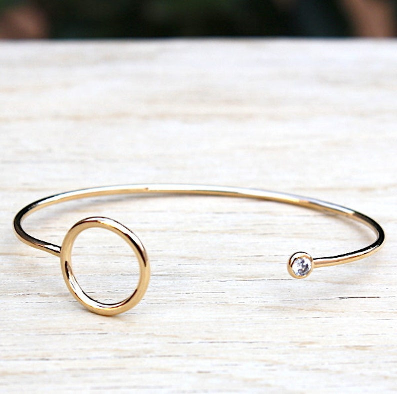 Bracelet Bangle thousandth 750 gold plated ring and zircon