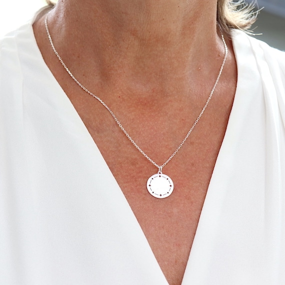 Necklace chain in solid silver 925, necklace medaille polar stars, gift woman