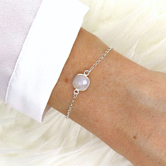 woman's chain silver moonstone bracelet faceted
