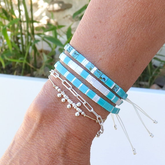 bracelet beads turquoise tila and pearl ivory on cord