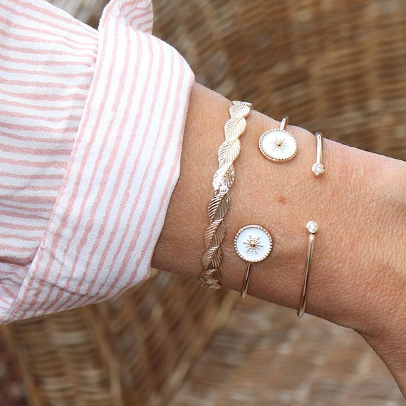 white enamelled gold-plated sun strap for women
