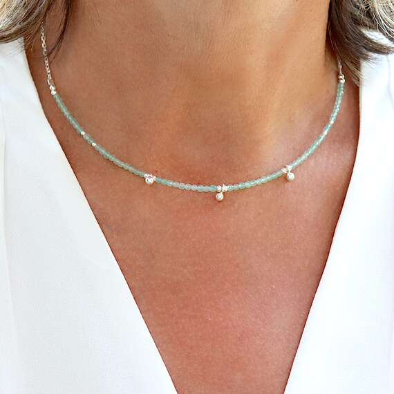 Necklace aventurine stones and silver beads on chain, necklace woman choker