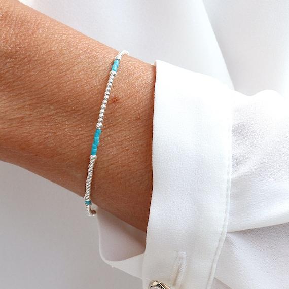 bracelet turquoise miyuki beads and silver beads, solid silver women's bracelet