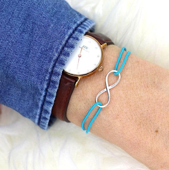 925 silver infinity cord bracelet for women