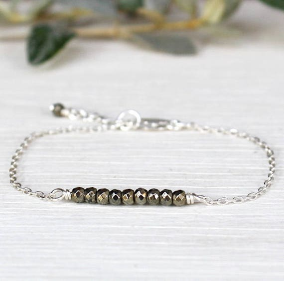 925 silver chain bracelet and faceted pyrite gemstones