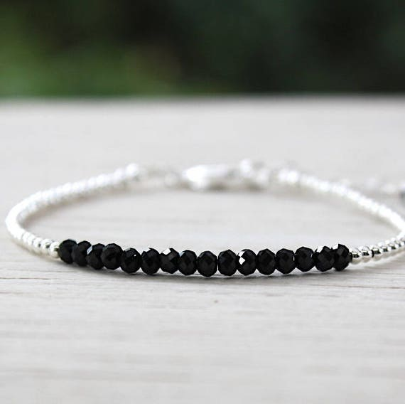 Bracelet 925 sterling silver beads and spinel gemstones