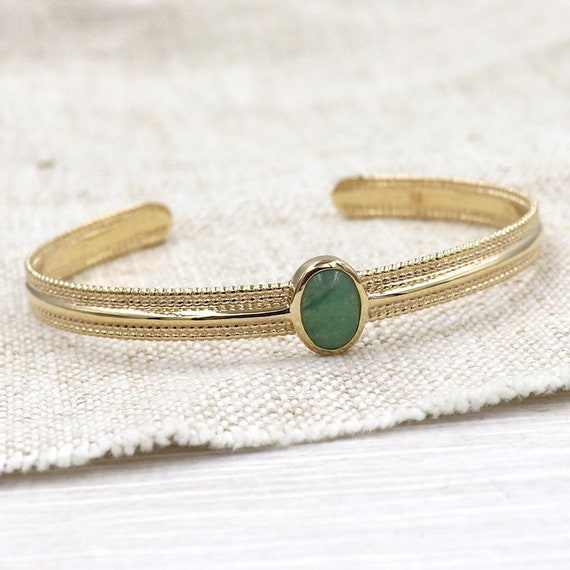 Gold-plated women's strap and aventurine stone set
