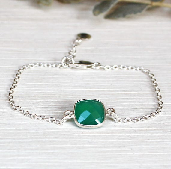 beaded gem stones green agate on chain Silver 925
