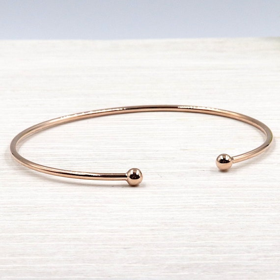 Bangle balls plated rose gold 3 microns