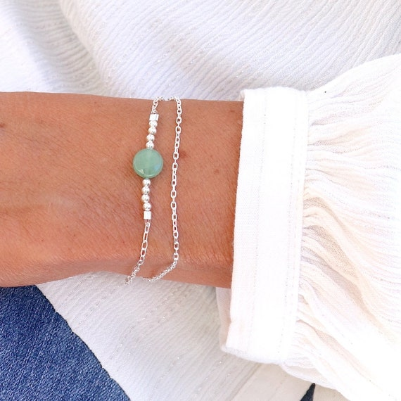 bracelet double chains solid silver and faceted aventurine stone, gift bracelet woman woman