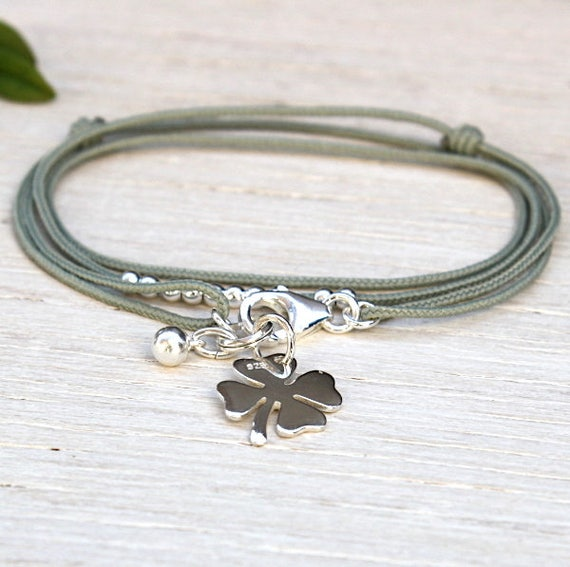 cord bracelet triple towers clover 925 sterling silver cord choice
