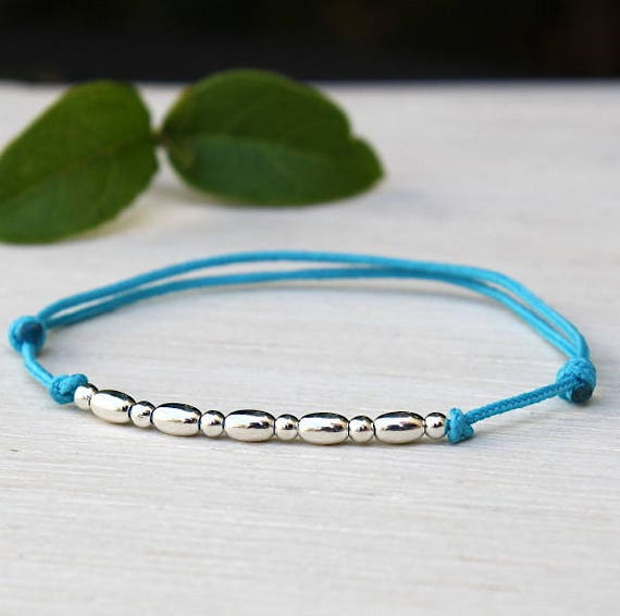 Bracelet 925 sterling silver cable oval and round beads