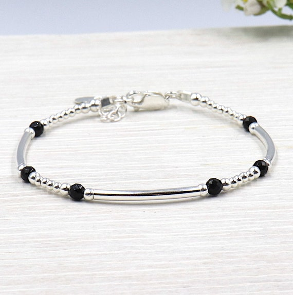 Bracelet 3 rings 925 Silver beads and black agate stones