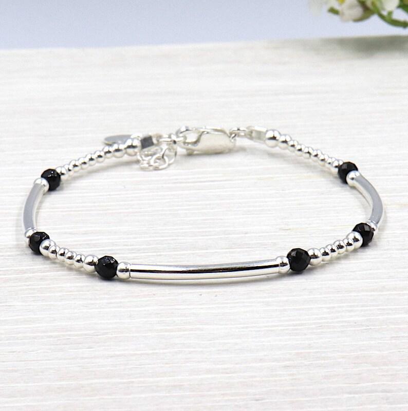 925 Silber Schwarzer Schilf Steinen Perlen Achat Armband 3 Und WCxBorde