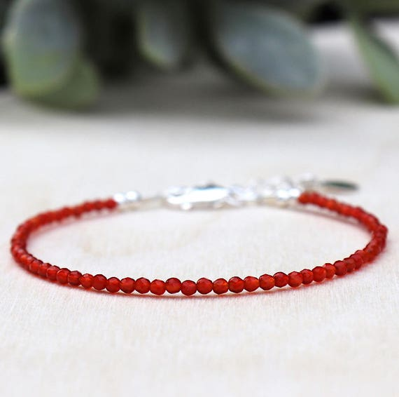 Bracelet fine woman faceted carnelian gem stones