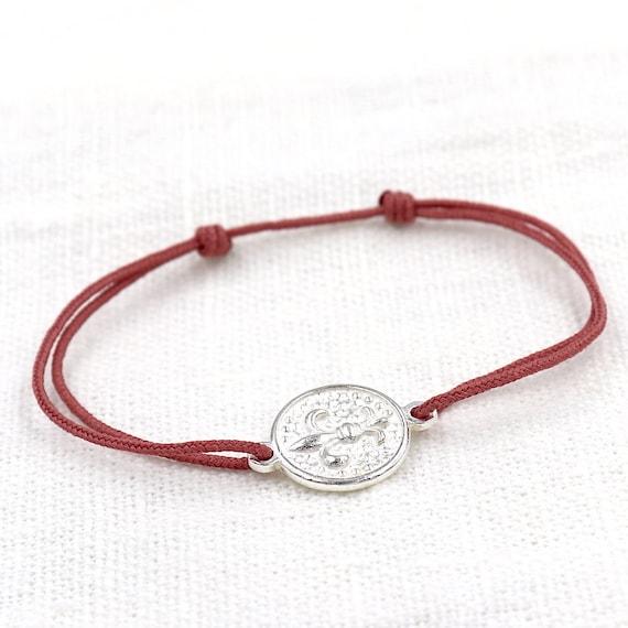 cord bracelet medal flower of silver lily for women