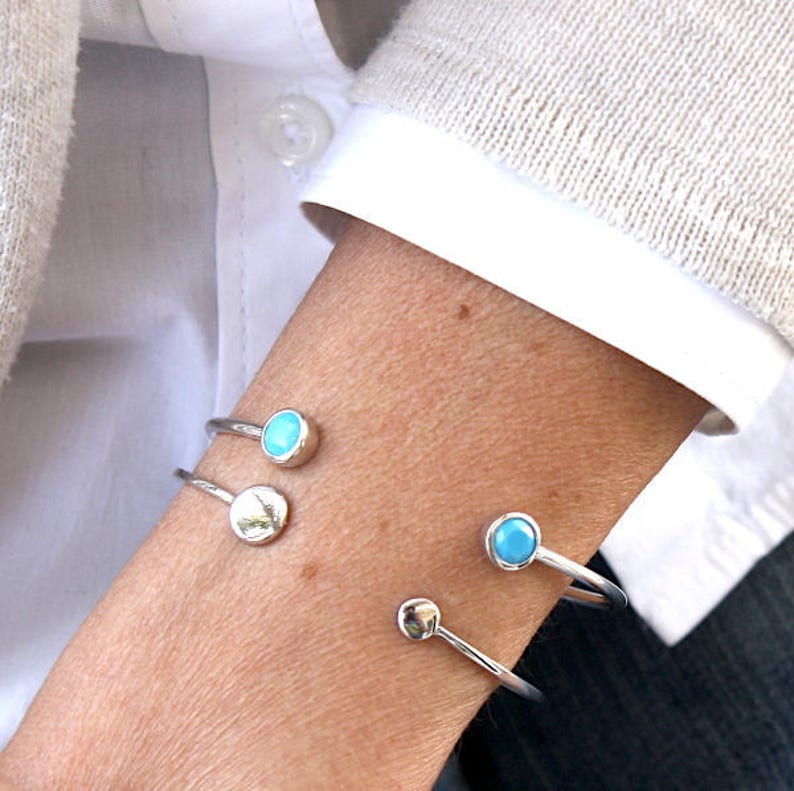 turquoise and 925 Silver Bangle Bracelet