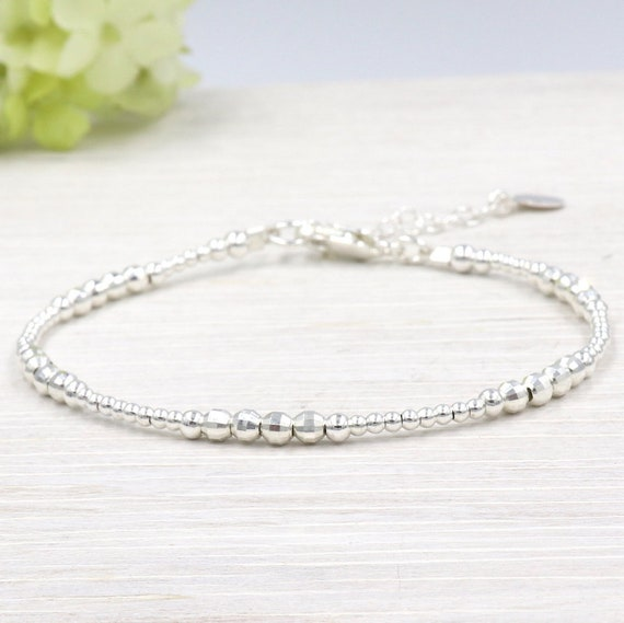 Silver pearl bracelet 925 round and faceted