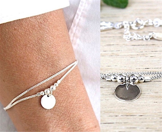 solid silver bracelet double chain gourmette beads and medal