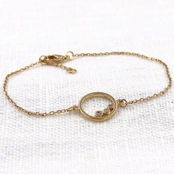 gold-plated ring bracelet and zircons for women