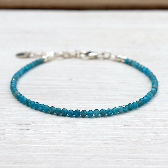 fine bracelet woman stones of blue apatite gems faceted