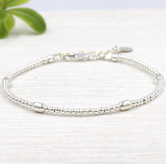 Women bracelet Silver 925 oval and round beads