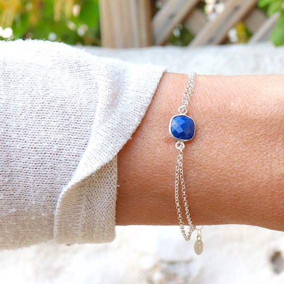 women's bracelet stone lapis lazuli on double silver chain