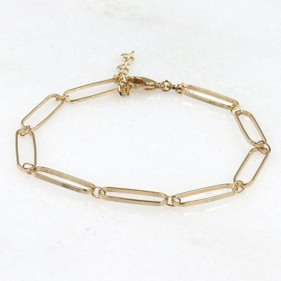 gold-plated rectangle mesh chain bracelet for women
