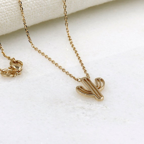 cactus women gold plated necklace