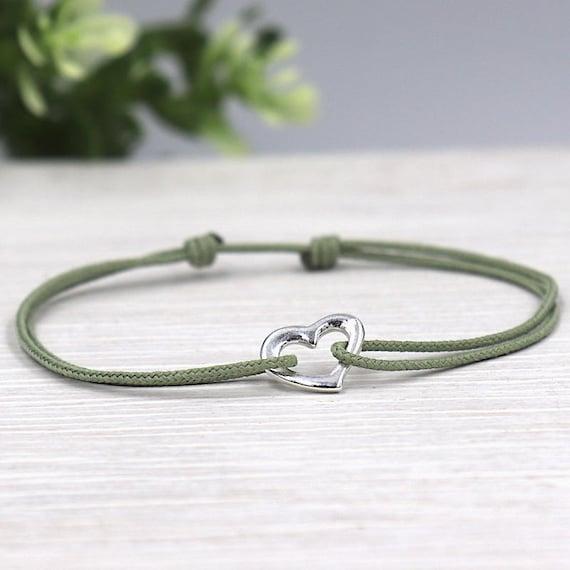 Women's cord bracelet silver heart 925