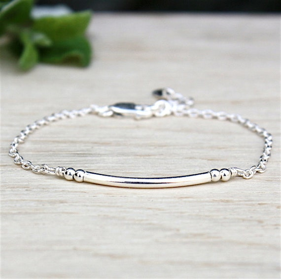 silver chain bracelet and silver beads 925