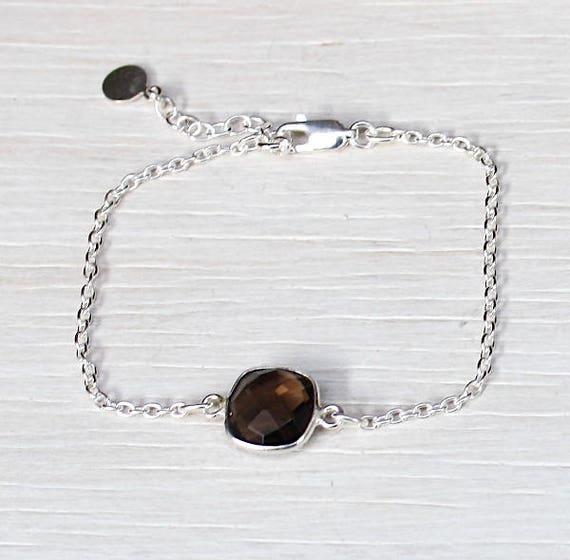 smoky quartz gem stone bracelet on chain Silver 925