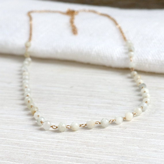 moonstone necklace on women's gold plated chain, golden chain necklace and gemstones, women's gift