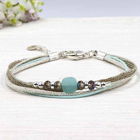 Multi strands String Bracelet swarovski crystal and amazonite gem stone