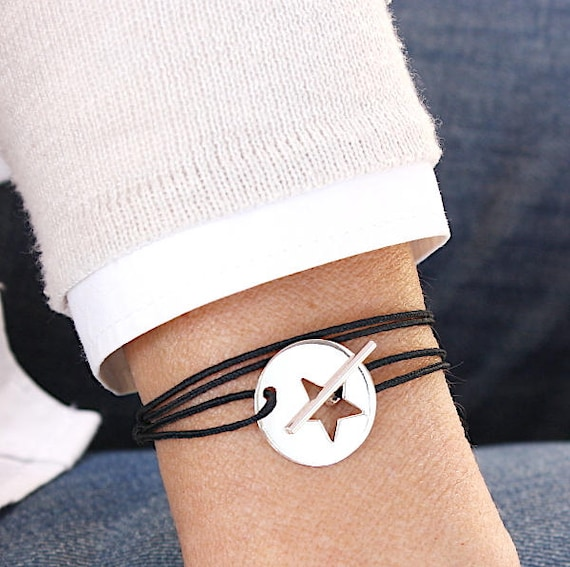cord bracelet women to choose star T connector 925 silver plated