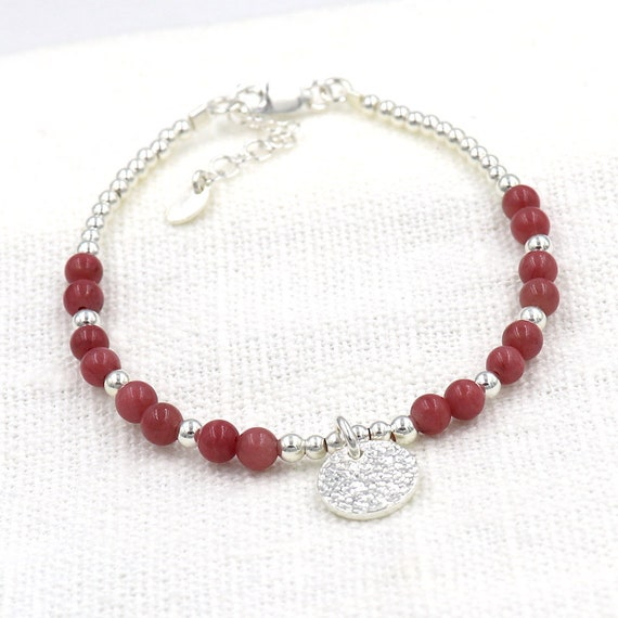bracelet stones rhodonite beads and silver hammered medal 925